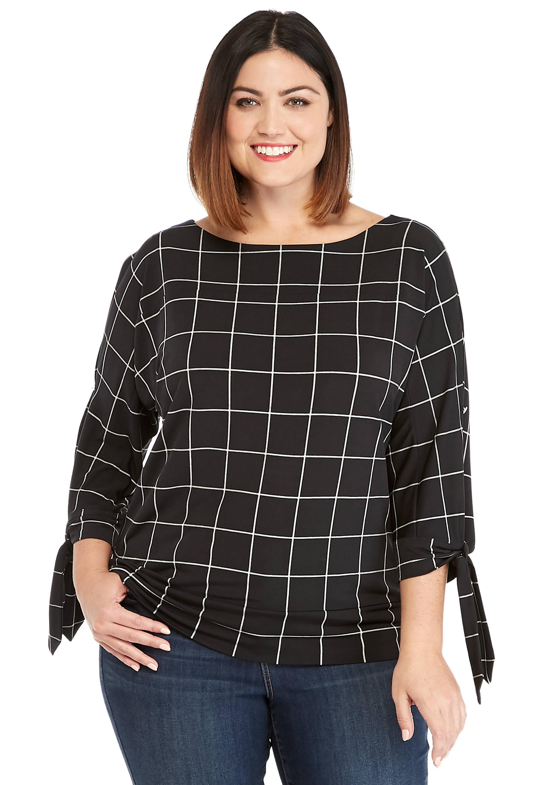db65bc4b8cc Lyst - The Limited Plus Size Printed Banded Bottom Knit Top in Black