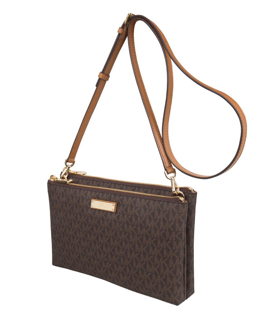cd9cedf7b14e Michael Kors - Brown Adele Double Zip Crossbody - Lyst. View fullscreen