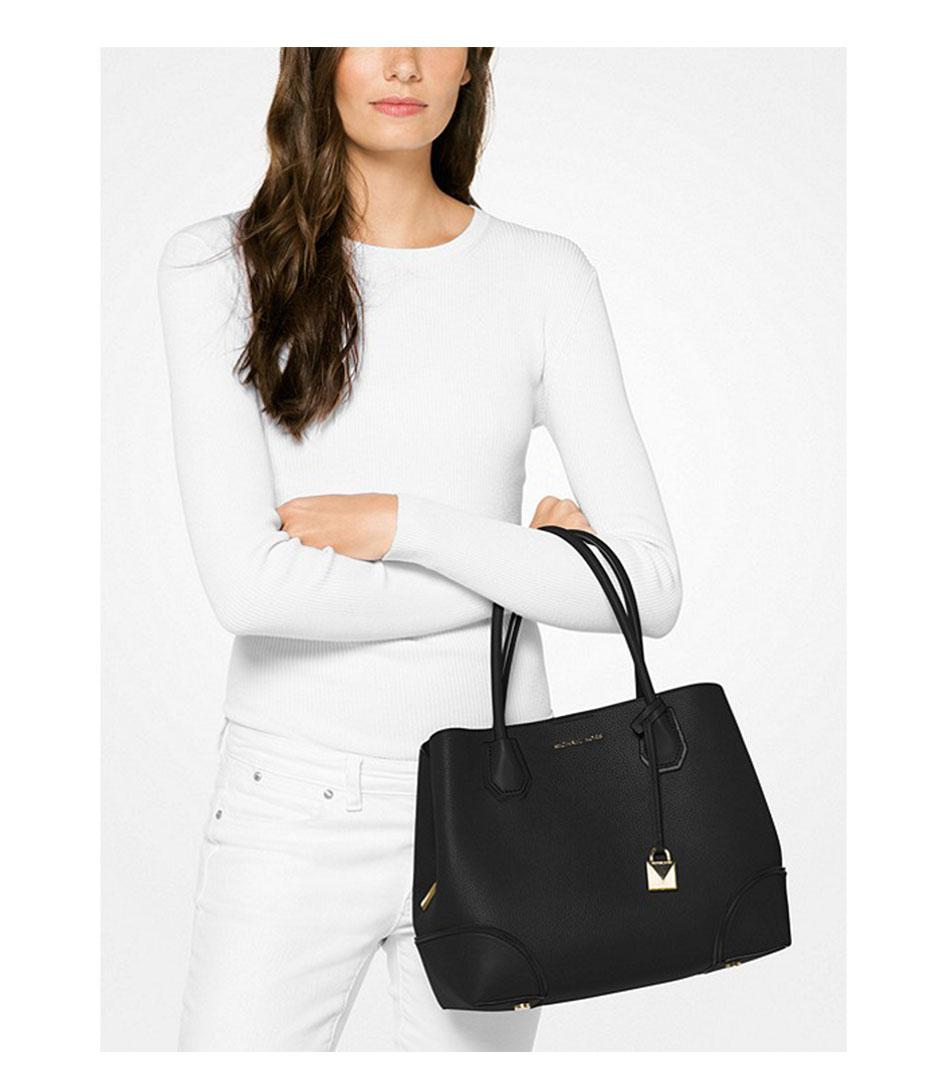314ff3c45f ... Leather Bonded Tote Bag Michael Kors - Black Mercer Medium Center Zip  Tote - Lyst.