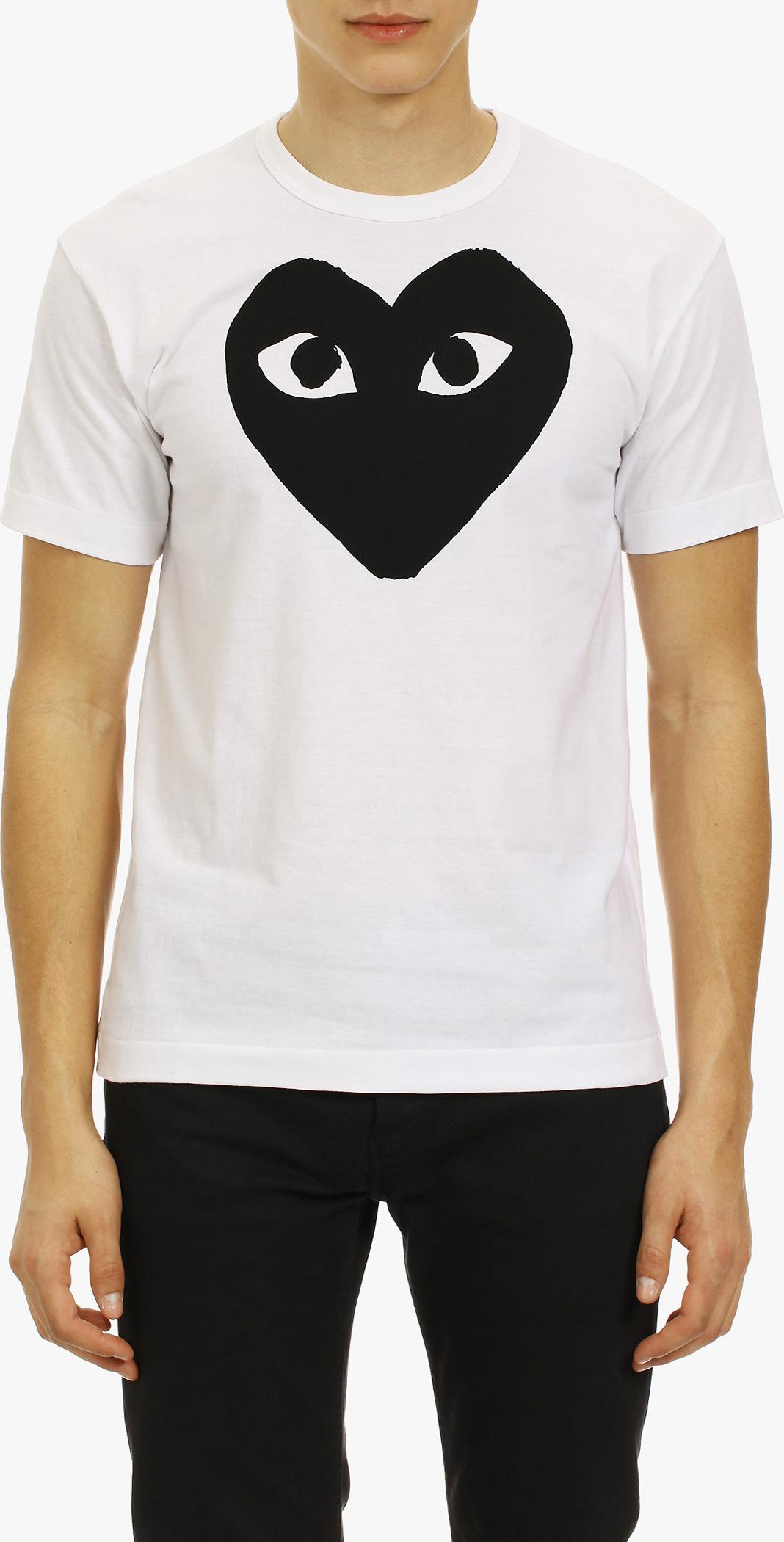 Play Comme Des Gar Ons Gold Heart Patch T Shirt In White