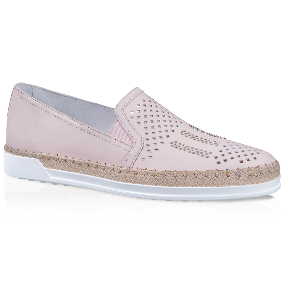 tod s slip on shoes in leather in beige pink save 40