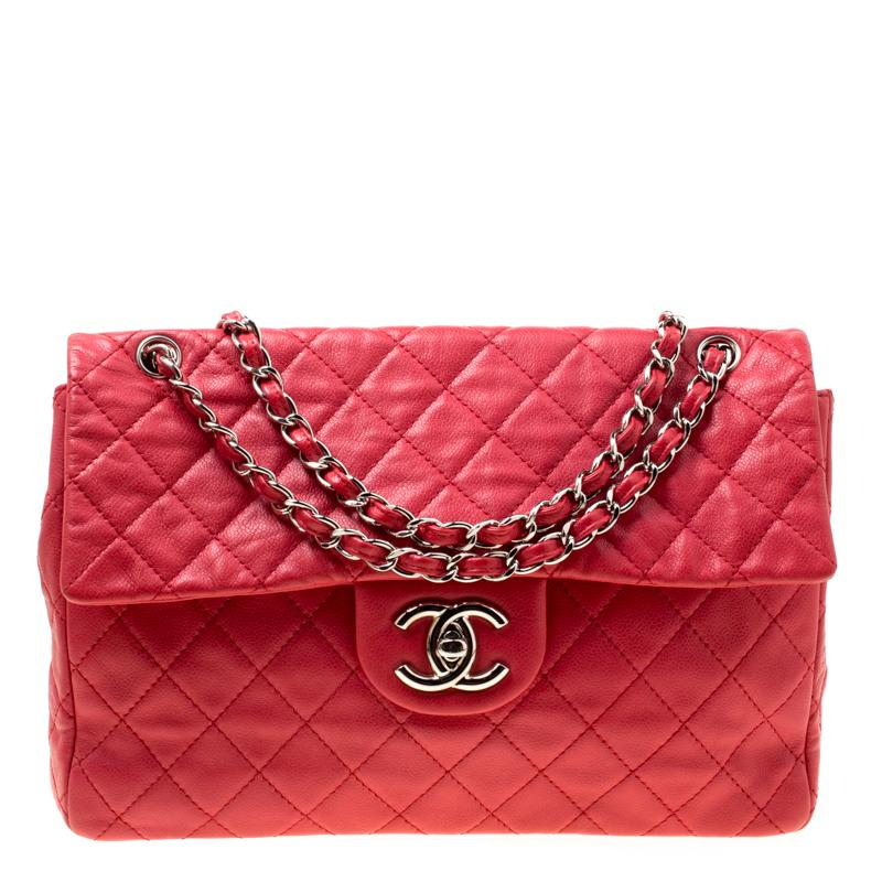 72887abf29eb Lyst - Chanel Quilted Caviar Leather Maxi Classic Single Flap Bag in Red