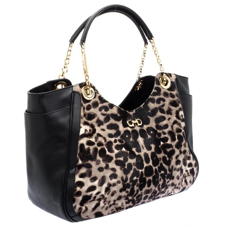 b1437060f5ef Ferragamo Leopard Print Calf Hair And Leather Betulla Tote in Black ...