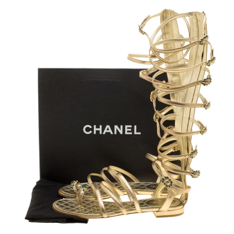 32cbeac784f Lyst - Chanel Leather Gladiator Sandals in Metallic