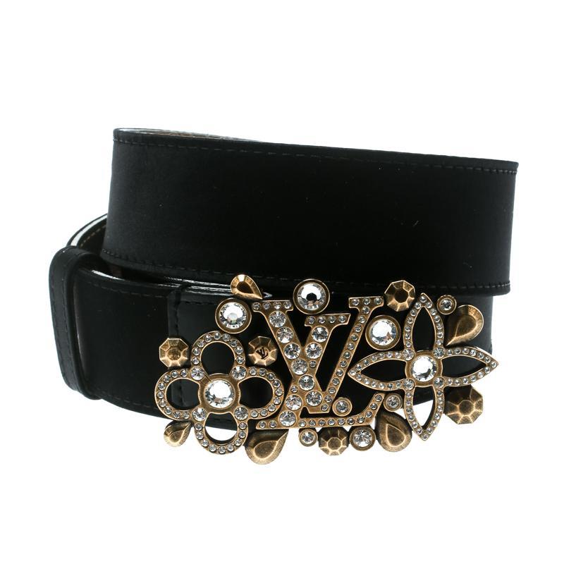 56d735968d90 Louis Vuitton - Black Satin Rhinestone Fleurs Runway Belt 85 Cm - Lyst.  View fullscreen