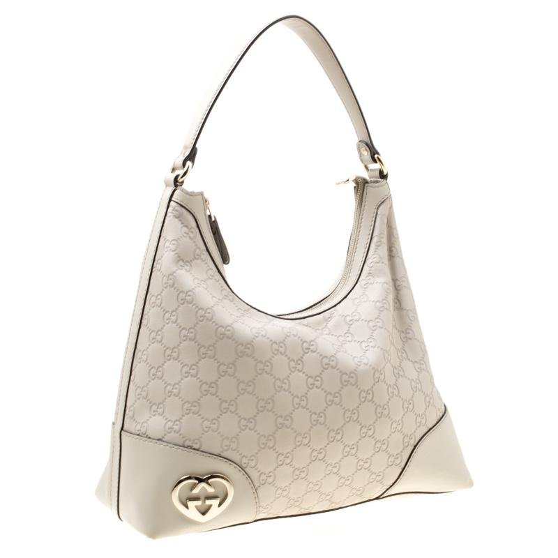 fdb734653b5 Gucci - Off White Ssima Leather Lovely Heart Shaped Interlocking G Hobo -  Lyst. View fullscreen