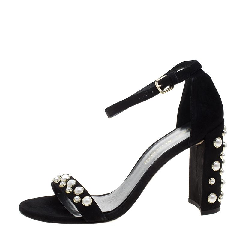 6d38bf76099 Stuart Weitzman. Women s Black Morepearls Studded Suede Ankle Strap Sandals