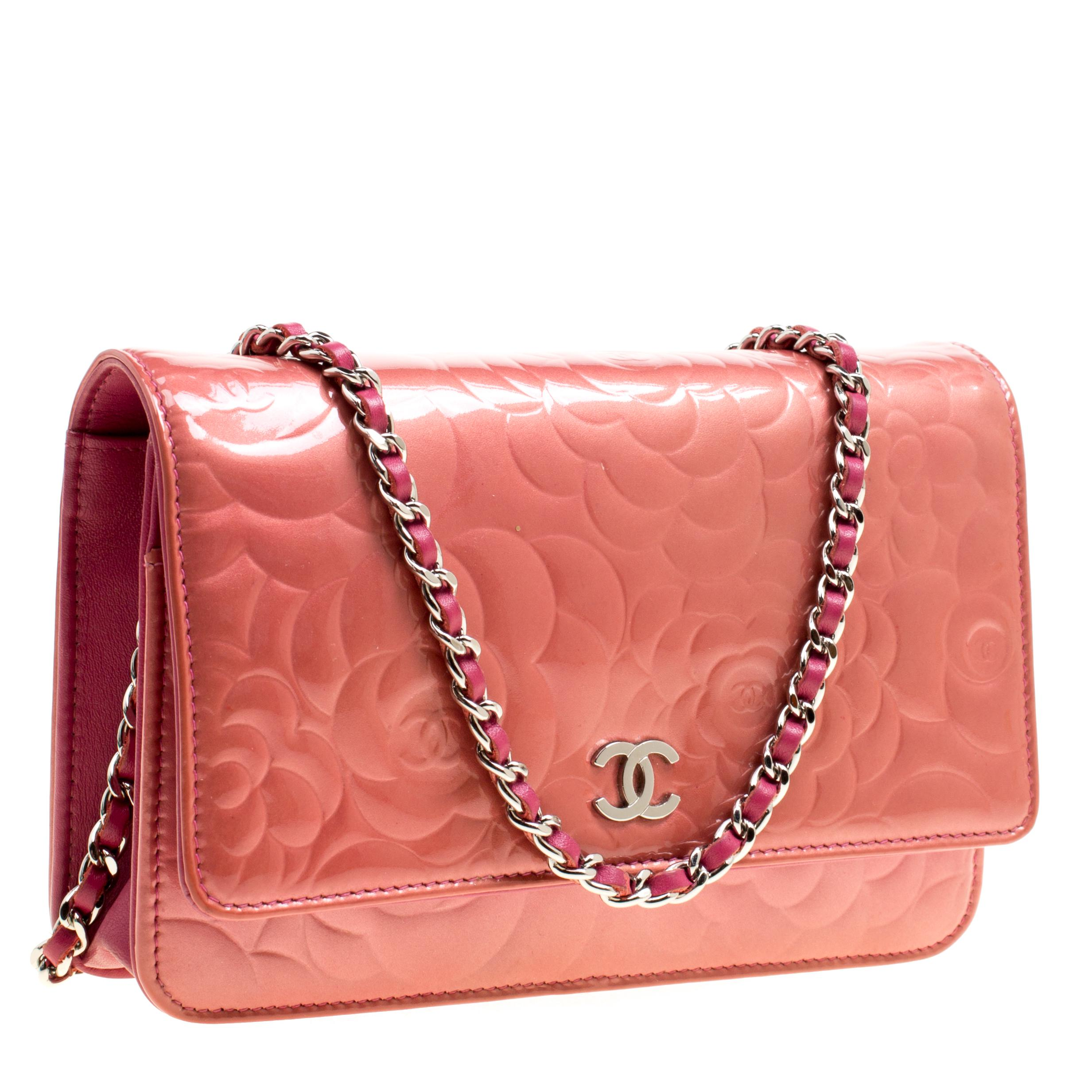 a2d4a74fb16 Chanel Rose Patent Leather Camellia Wallet On Chain in Pink - Lyst