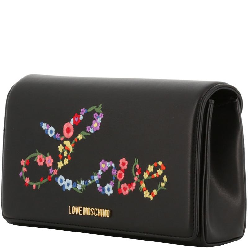 ca862f8346d Moschino - Love Black Faux Leather Embroidered Woc Crossbody Bag - Lyst.  View fullscreen