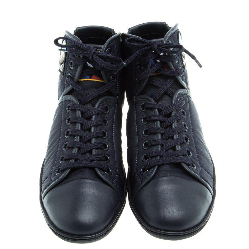 9df5e318ea8 Louis Vuitton Dark Fabric And Leather V Gaston High Top Sneakers in ...