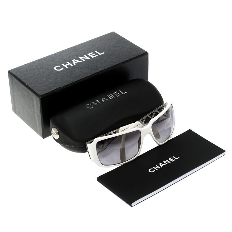 abaa1cafc6b9d Lyst - Chanel 5074-b Crystal Embellished Rectangular Sunglasses in White