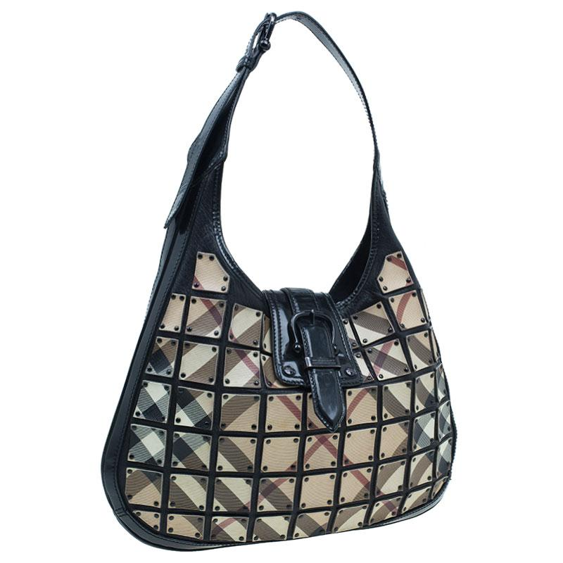 c465b10bfda0 Burberry Nova Check Brooke Warrior Hobo in Black - Lyst