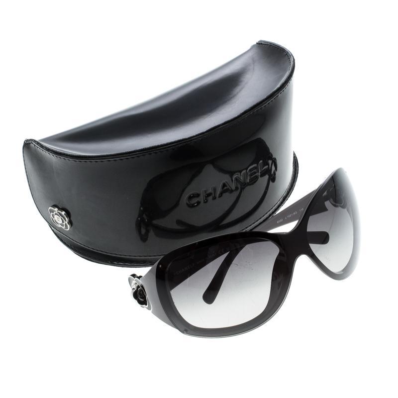 8b847cbf65 Chanel Grey  Gradient 6032 Camellia Flower Shield Sunglasses in ...