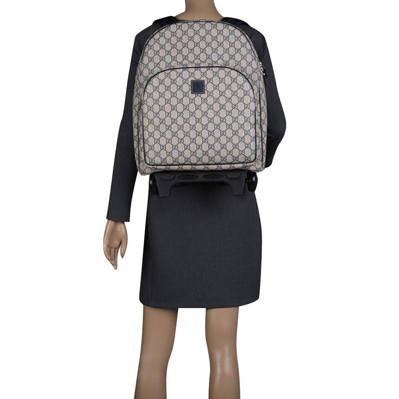 dbf491031a19 Gucci - Beige/blue GG Supreme Canvas Trolley Backpack Bag - Lyst. View  fullscreen