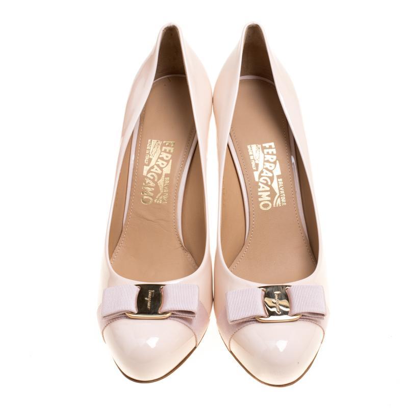 3188d63cb09 Ferragamo Blush Pink Patent Leather Carla Vara Bow Pumps Size 41.5 ...