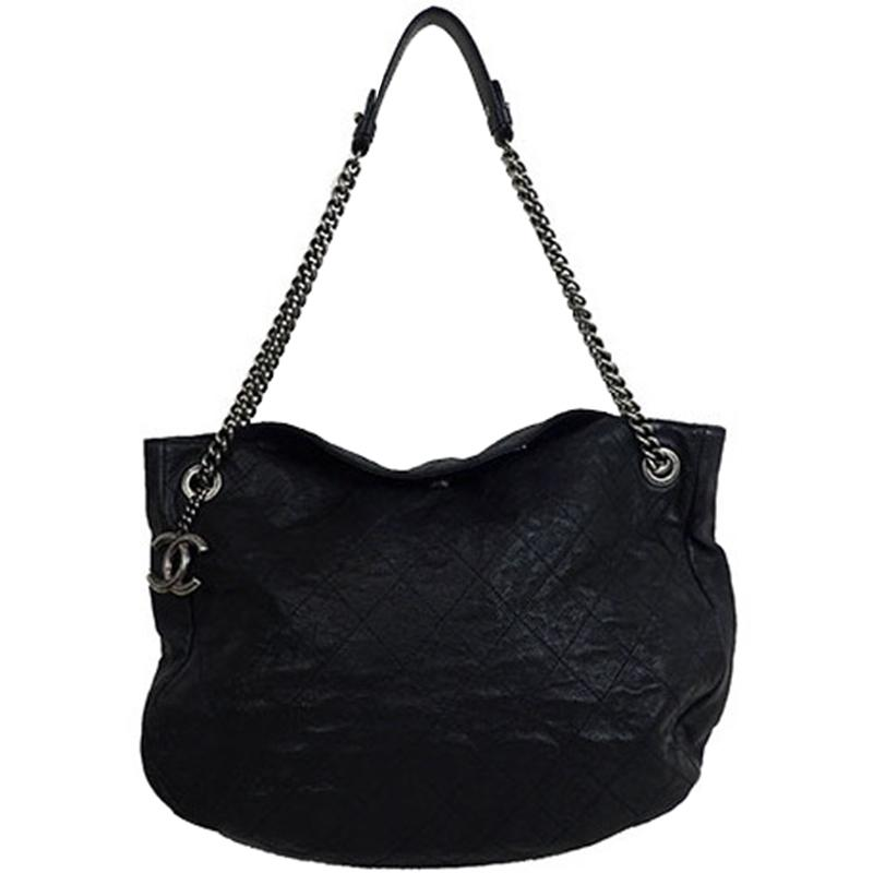 dab98140c282 Lyst - Chanel Quilted Caviar Chain Tote in Black