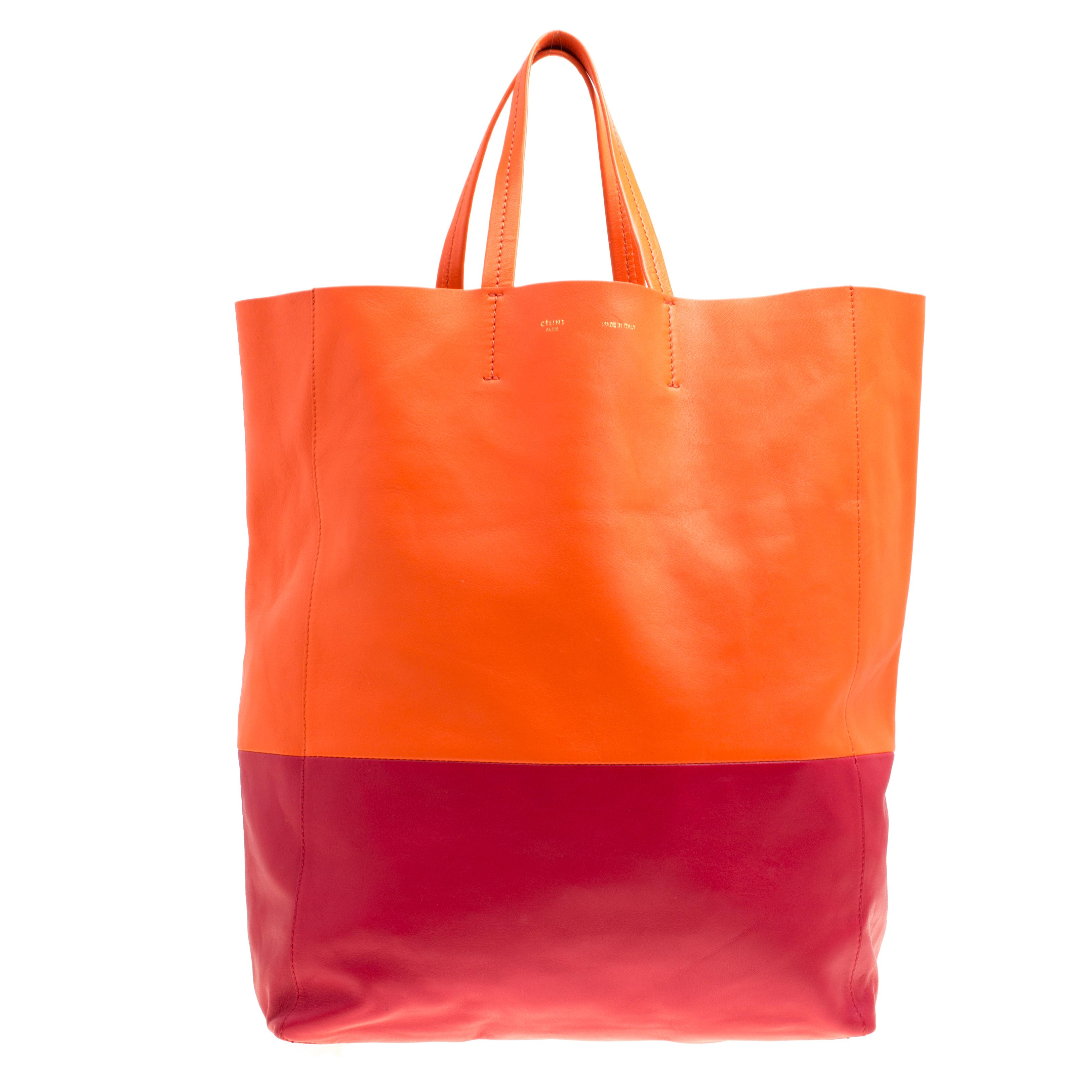 f018483d2d35 Lyst - Céline Orange red Leather Vertical Cabas Tote in Orange