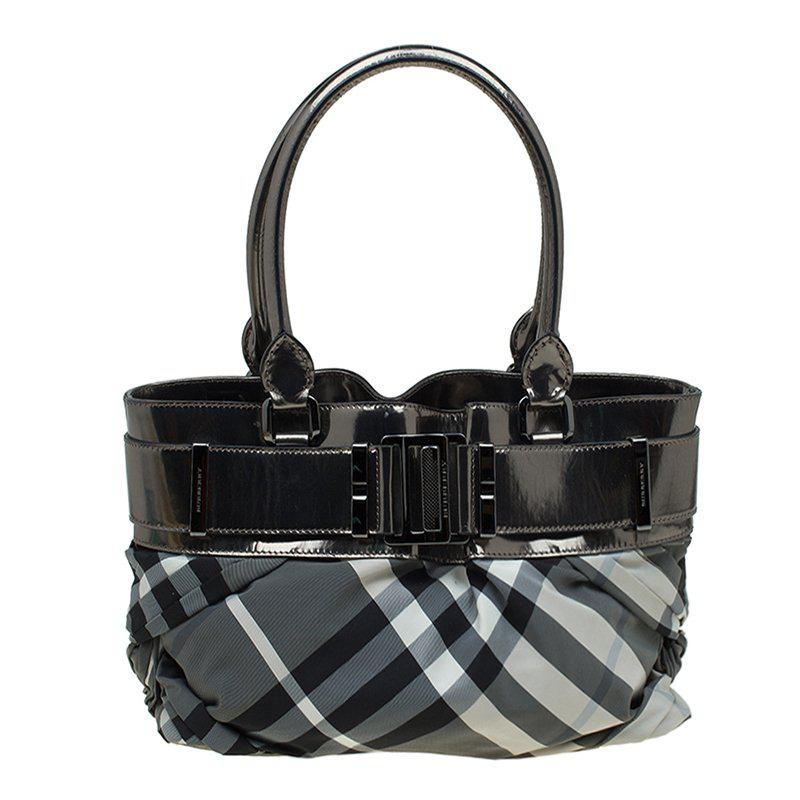 7f9c6538e9d1 Burberry Metallic Beat Check Nylon And Leather Small Healy Tote in ...
