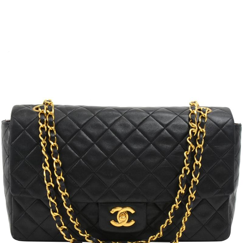 04c87846cca1 Lyst - Chanel Quilted Leather Vintage Flap Bag in Black