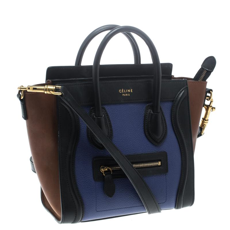 Céline Tri Color Leather Nano Luggage Tote in Blue - Lyst 27d124a52be11