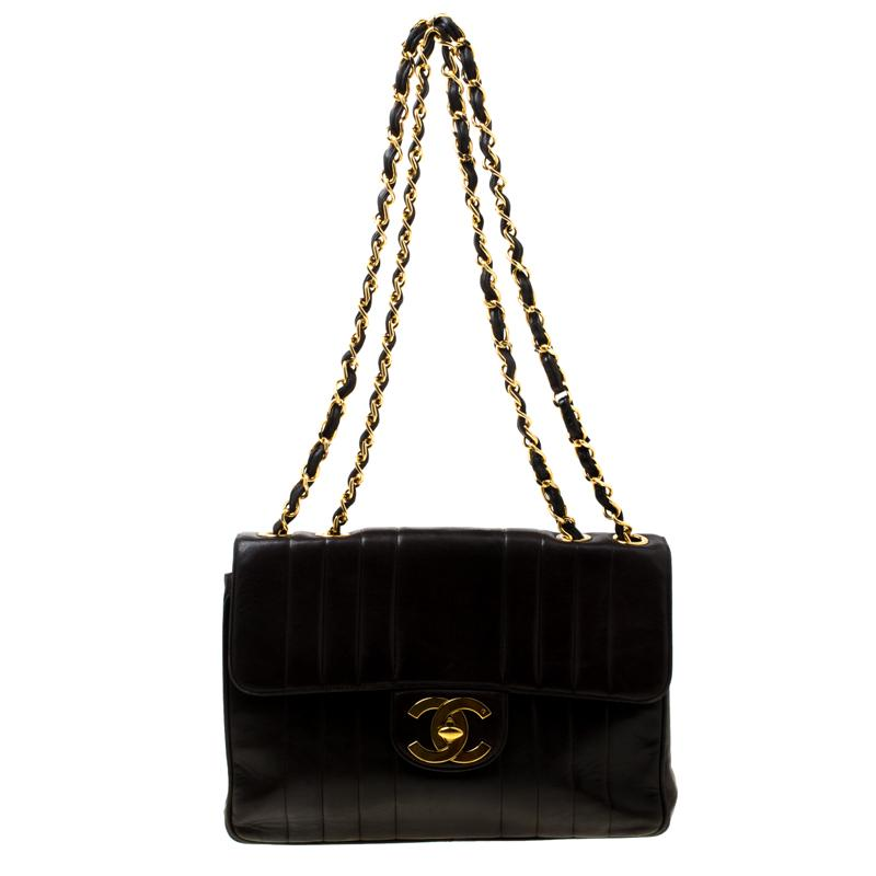 66b2a0af3d4a Chanel. Women s Brown Black Vertical Quilted Leather Jumbo Vintage Classic  Single Flap Bag