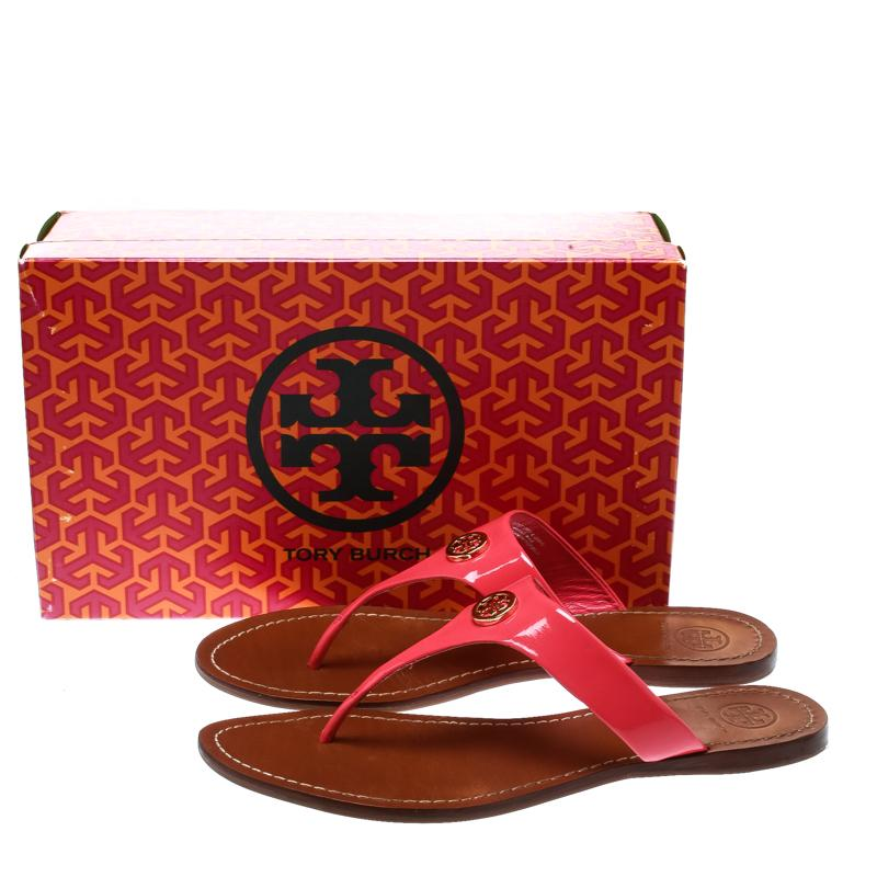 ccbe7d2ea Tory Burch - Pink Bougainvillea Patent Leather Cameron Flat Thong Sandals -  Lyst. View fullscreen