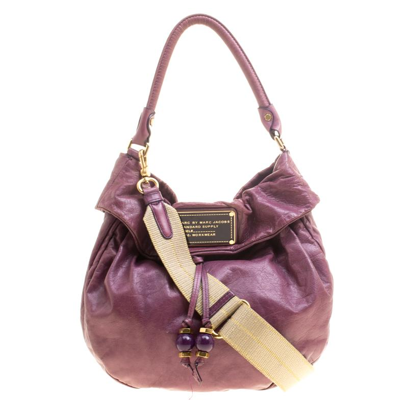 7af037e7a02c Marc By Marc Jacobs Leather New Q Lil Drawstring Hobo in Purple - Lyst