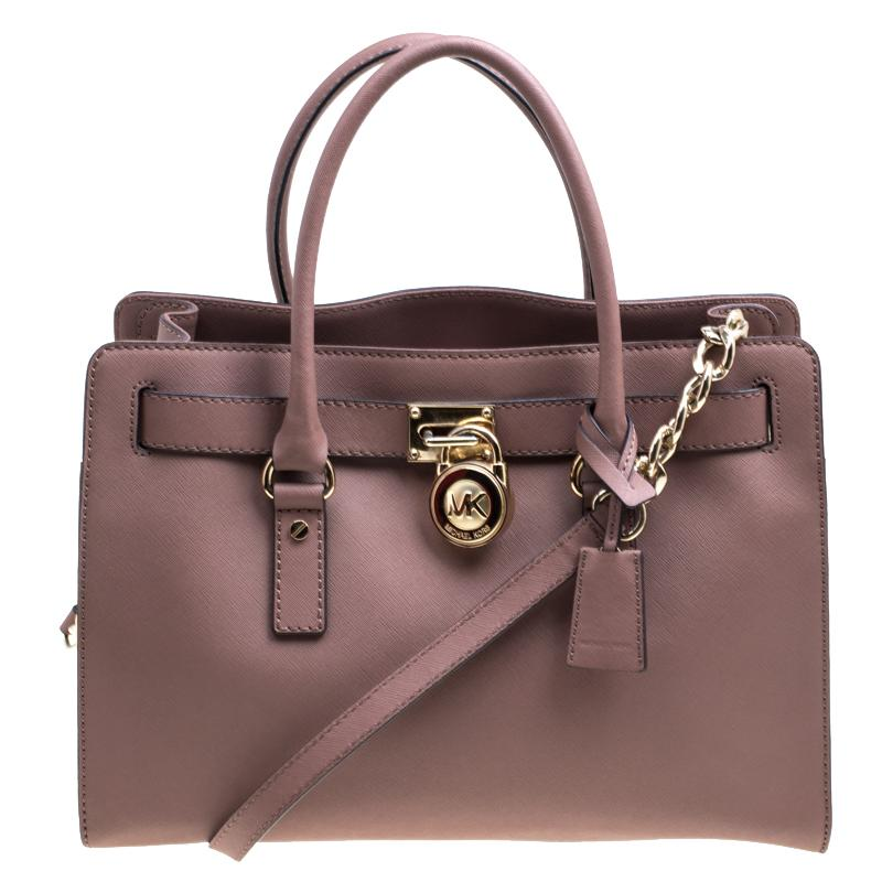 612575f66e2b MICHAEL Michael Kors. Women's Pale Pink Leather East West Hamilton Top  Handle Bag