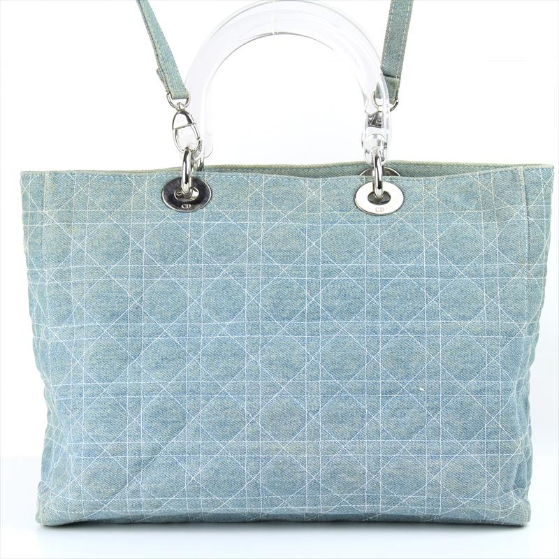 e51ab4f1b94 Dior - Blue Cannage Quilted Denim Large Lady Soft Tote - Lyst. View  fullscreen