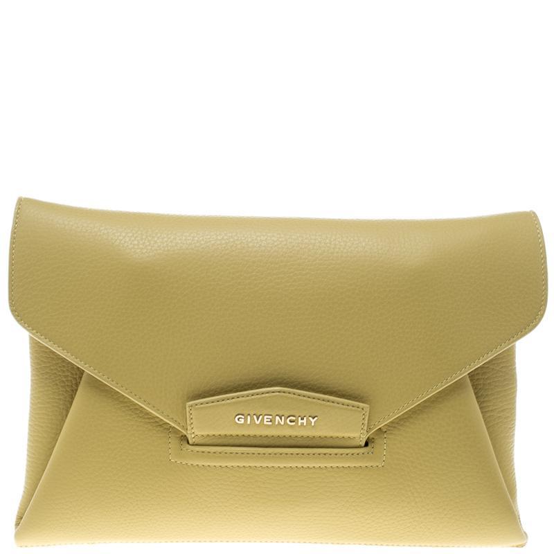 3abeee0934 Lyst - Givenchy Lemon Leather Medium Envelope Antigona Clutch in Yellow