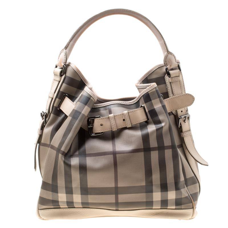 3087650e3fea Lyst - Burberry Smoked Check Pvc And Leather Walden Hobo in Natural