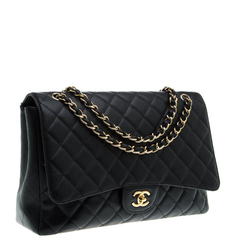 6b6b462e32ff52 Chanel Quilted Caviar Leather Maxi Classic Flap Bag in Black - Lyst