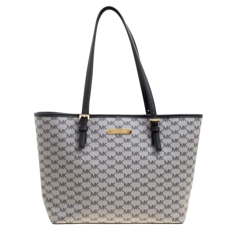 662a9def7 MICHAEL Michael Kors. Women's Gray Grey Signature Coated Canvas Medium Jet  Set Travel Tote