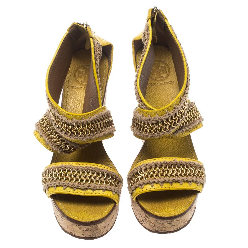 a1113231c57 Tory Burch Leather Lucian Chain Embellished Cork Wedge Sandals in ...