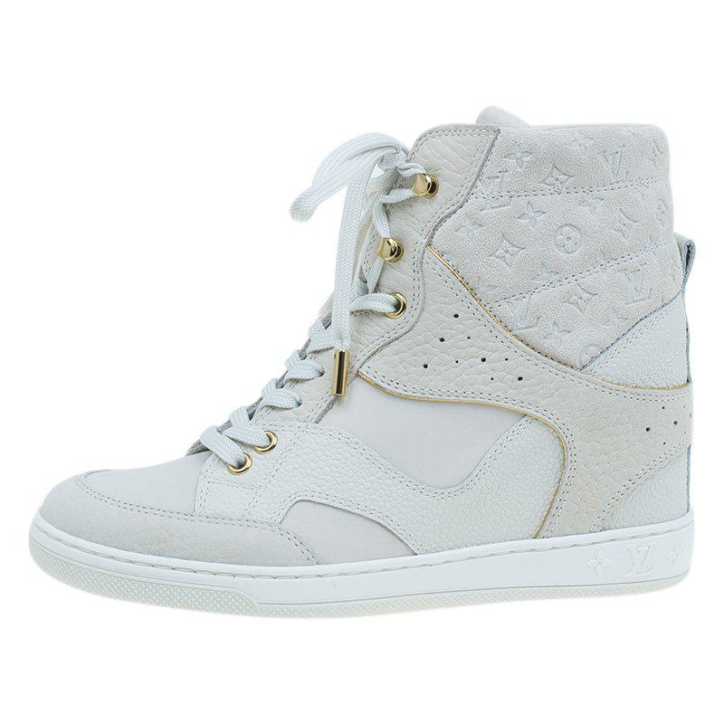 23696bc5621 Louis Vuitton Suede And Leather Cliff Top Sneaker Boots in White - Lyst
