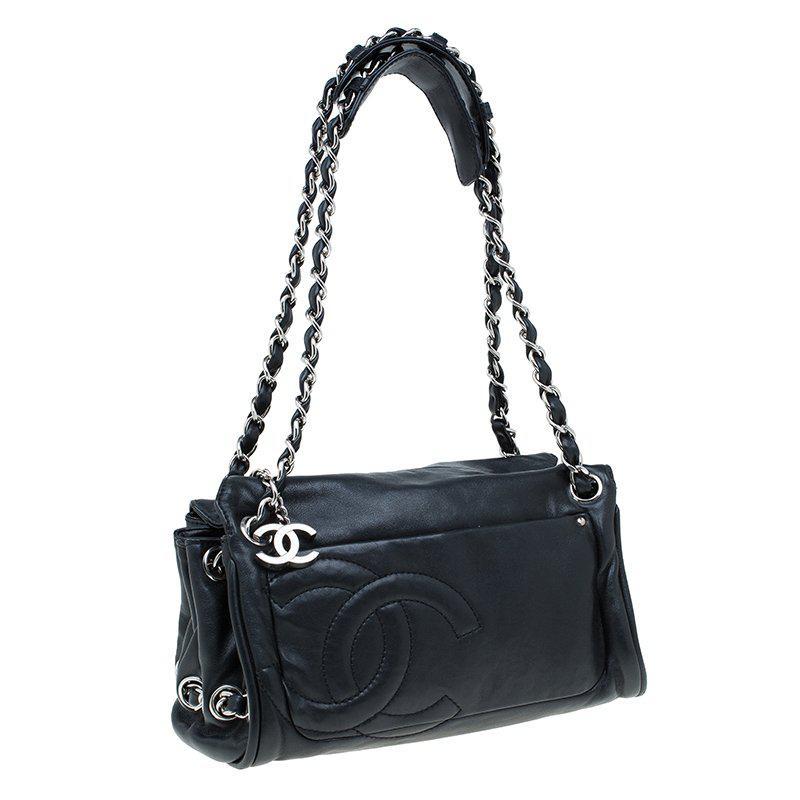 c56749d41f4a Chanel Leather Cc Accordion Shoulder Bag in Black - Lyst