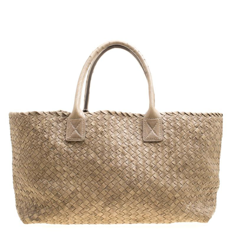 Bottega Veneta Stone Ostrich Intrecciato Leather Medium Limited ... 6ec581a0a898d