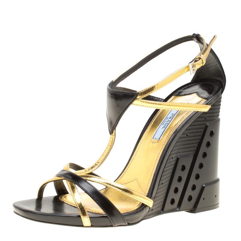 e1aaede632f Prada. Women s Black gold Leather Retro Futuristic Ankle Strap Geometric  Wedge Sandals Size 40