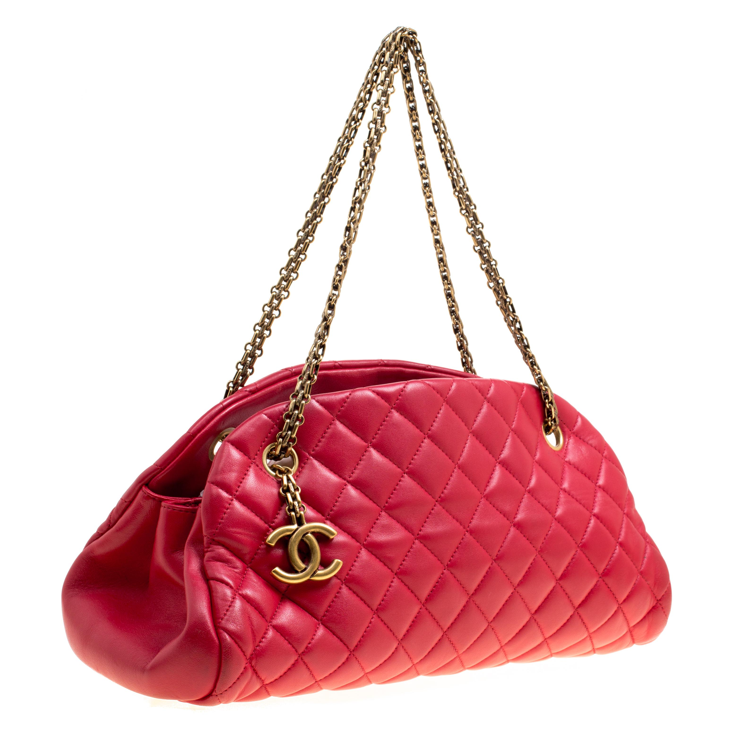 06a418f4a0b3 Chanel - Red Quilted Leather Medium Just Mademoiselle Bowling Bag - Lyst.  View fullscreen