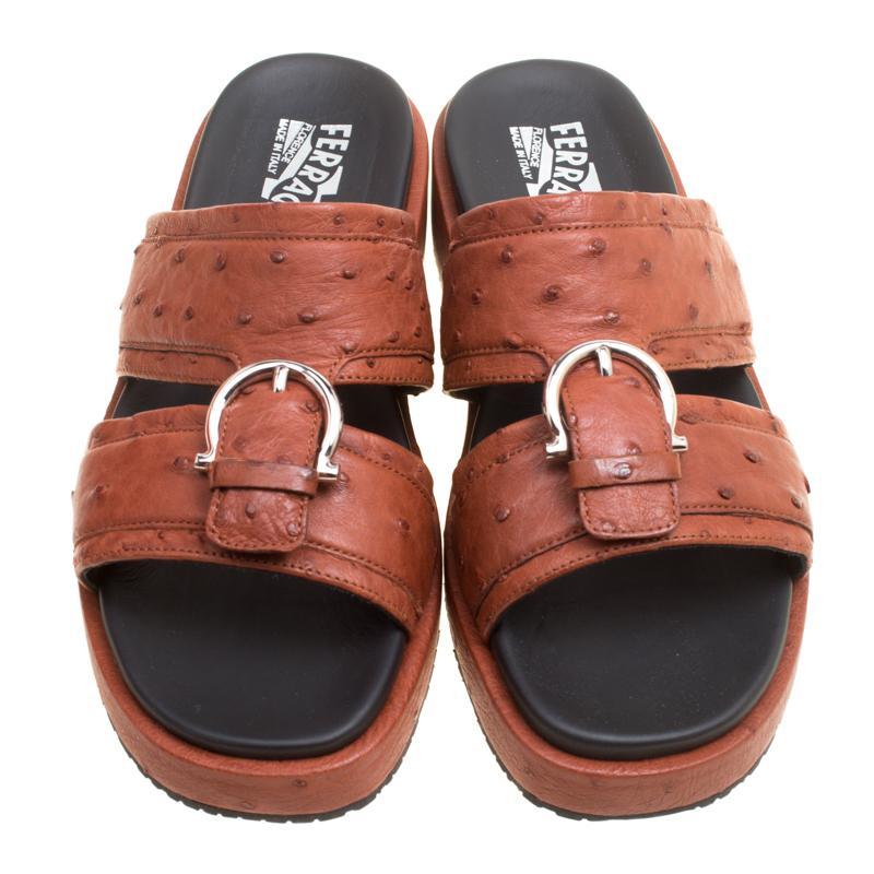 a37e985ef837 Lyst - Ferragamo Ostrich Leather Lutfi Platform Slides in Brown for Men