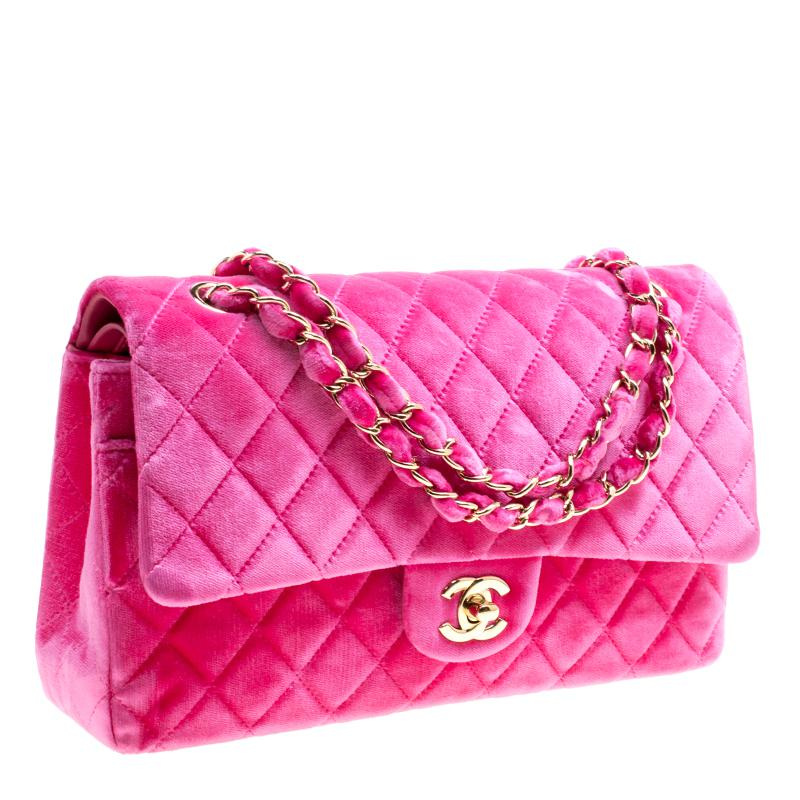 1f46056ea82f Chanel Fuschia Quilted Velvet Medium Classic Double Flap Bag in Pink ...