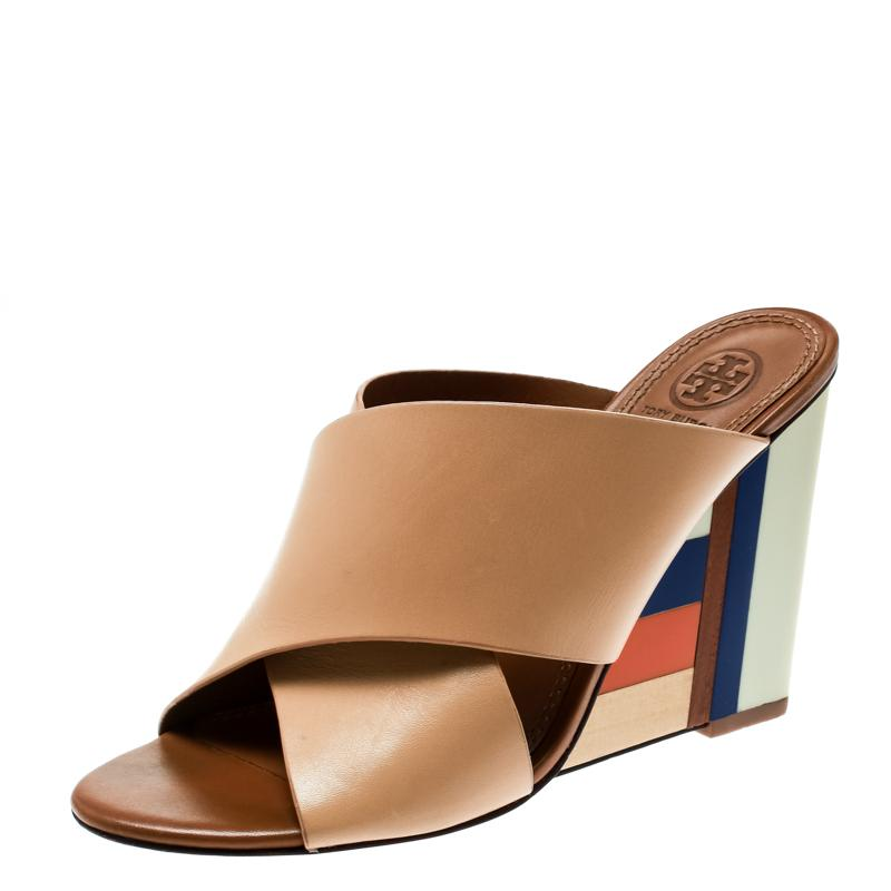 a9d3d855257 Tory Burch Beige Leather Colorblock Wedge Slide Sandals Size 37 in ...
