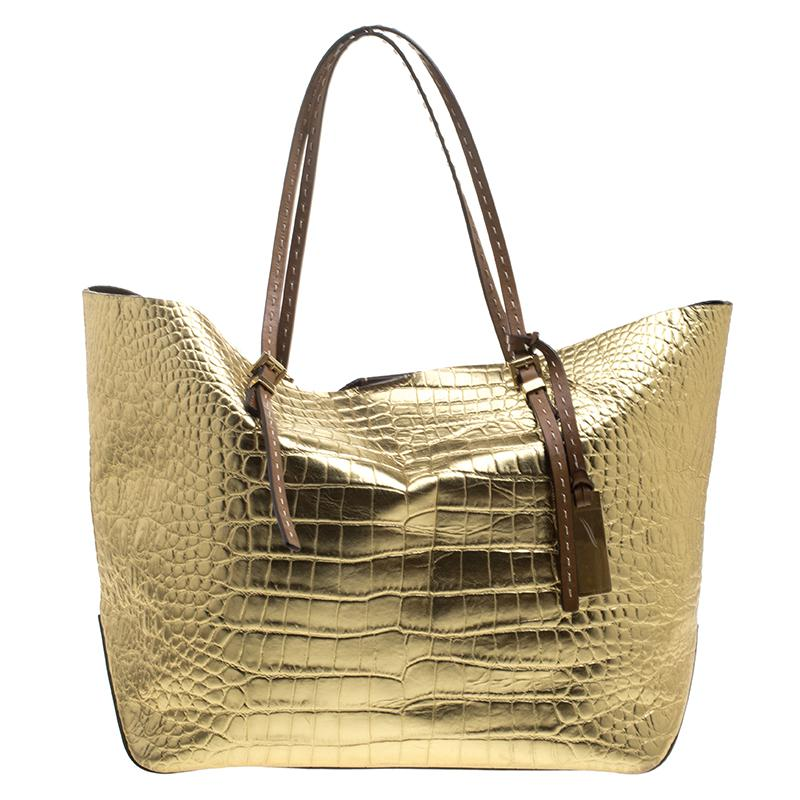 a71f4cc0a630 MICHAEL Michael Kors. Women's Metallic Gold Croc Embossed Leather Gia Tote