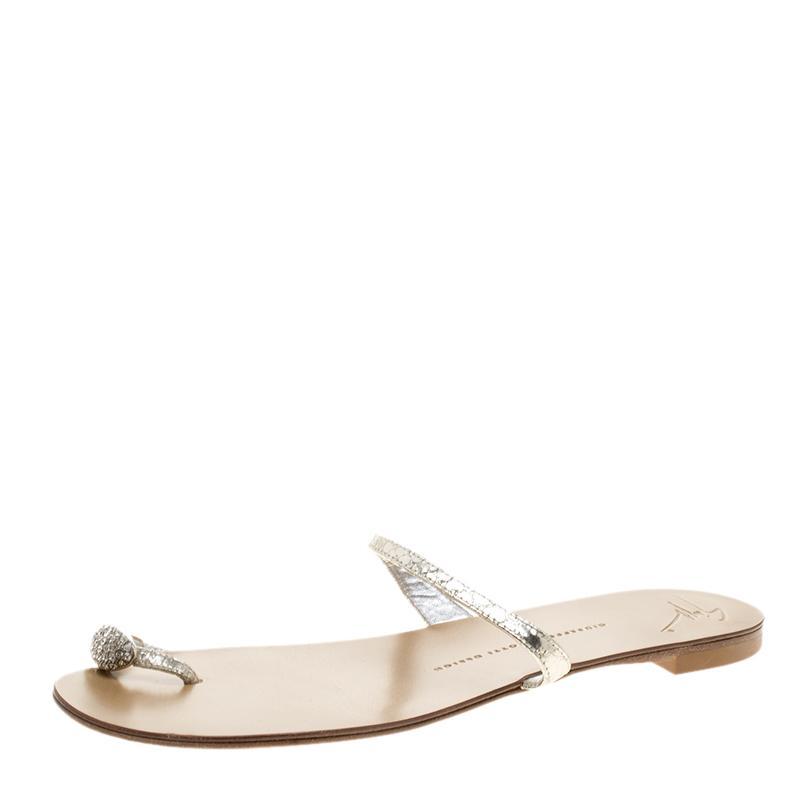 93bd5da6acf8 Giuseppe Zanotti. Women s Metallic Silver Crystal Embellished Toe Ring Flat  Sandals ...
