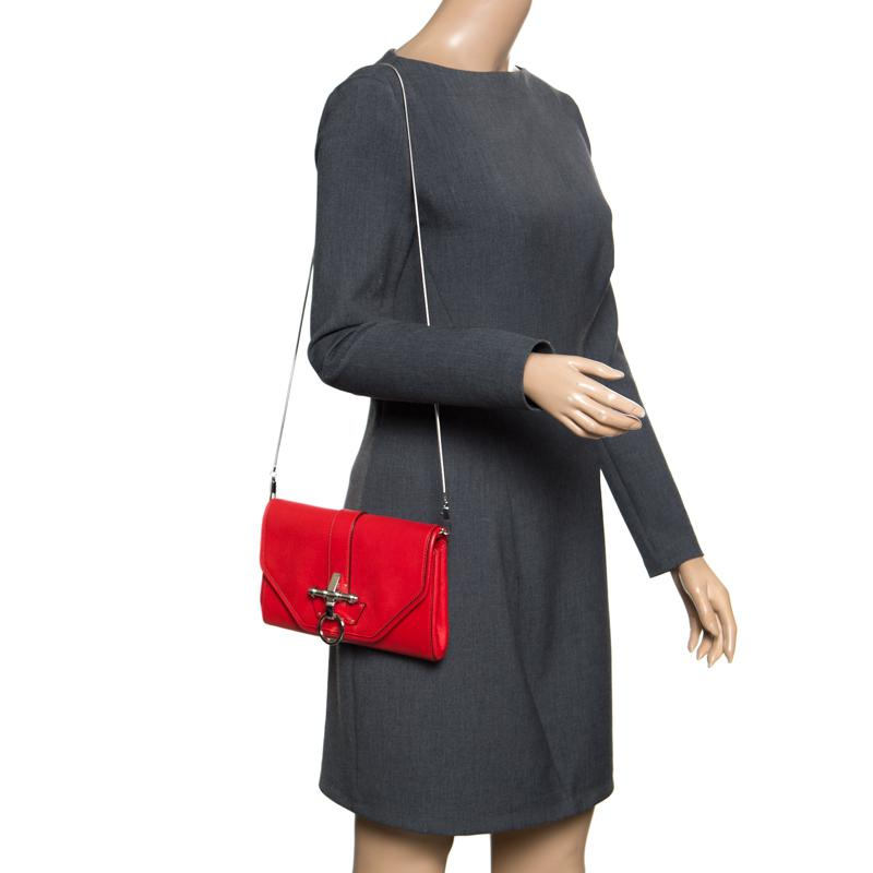 df37e2595f9e Lyst - Givenchy Leather Obsedia Chain Clutch in Red