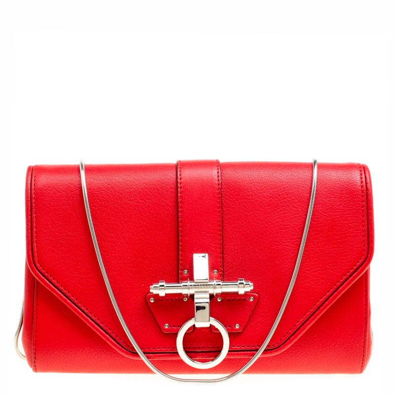 14e997de8203 Lyst - Givenchy Leather Obsedia Chain Clutch in Red