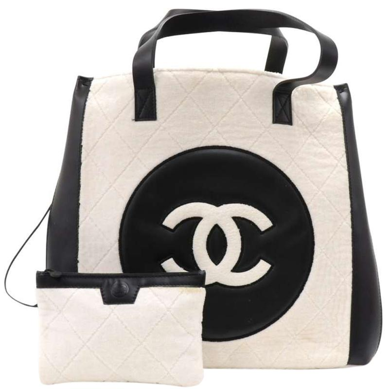 2ae937c3246220 Chanel Two Tone Quilted Terry Cloth And Leather Cc Shopping Bag in ...
