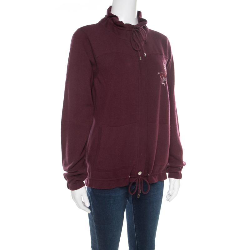 2308a1be37c Chanel Burgundy Polo Centaur Embroidered Zip Front Jacket M in ...