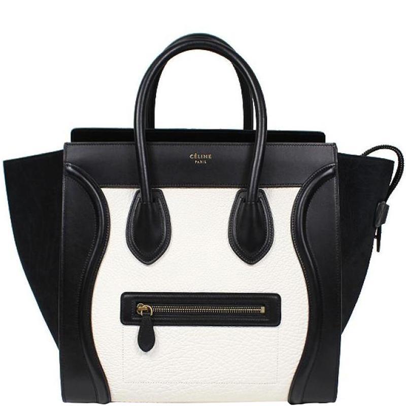 2ef1b03c6e14 Lyst - Céline Black white Leather Mini Luggage Tote in Black