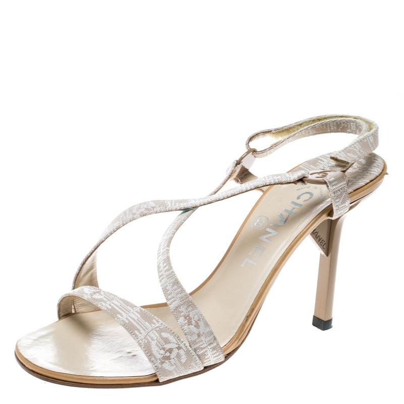 029fc8e0ccc Lyst - Chanel Beige Fabric Cc Logo Slingback Sandals Size 37 in Natural